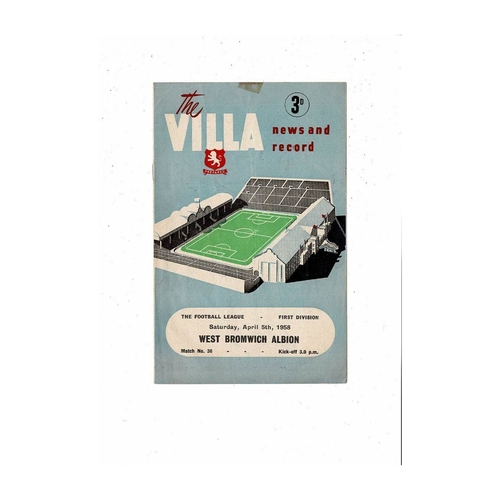 1957/58 Aston Villa v West Bromwich Albion Football Programme