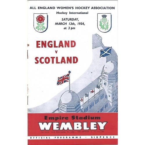 1954 England v Scotland women's International Hockey Programme