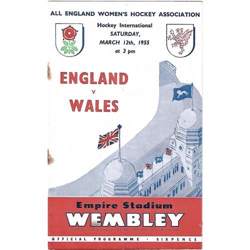 1955 England v Wales Women's International Hockey Programme