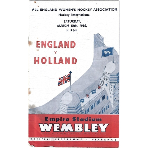 1956 England v Holland Women's International Hockey Programme