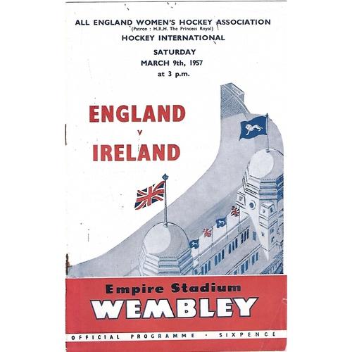 1957 England v Ireland Women's International Hockey Programme