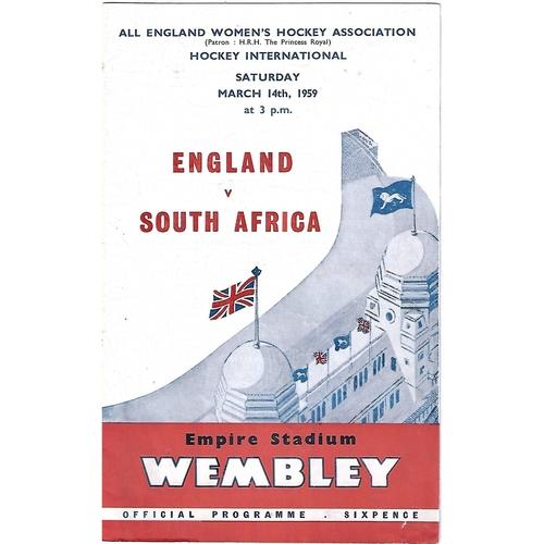1959 England v South Africa Women's International Hockey Programme