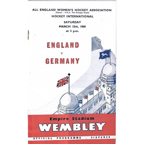 1960 England v Germany Women's International Hockey Programme