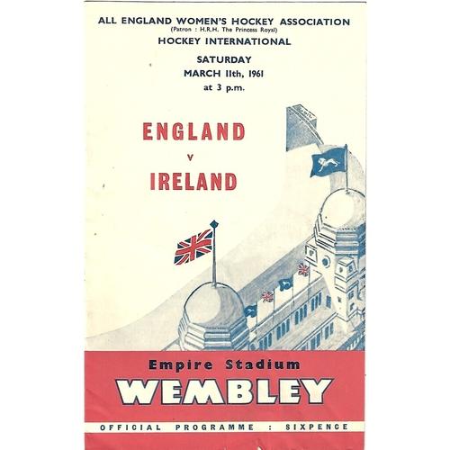 1961 England v Ireland Women's International Hockey Programme