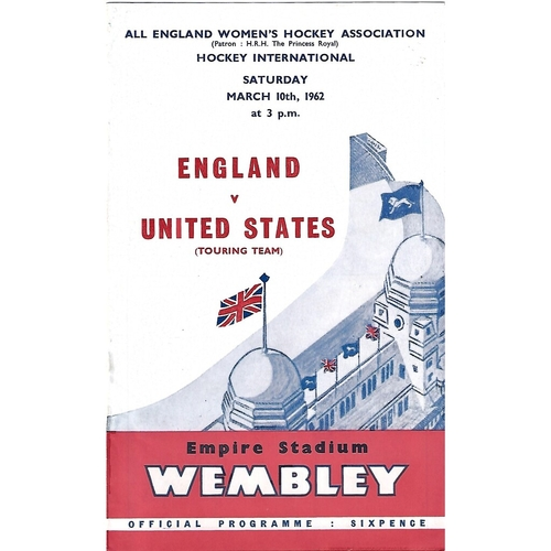 1962 England v United States Women's International Hockey Programme