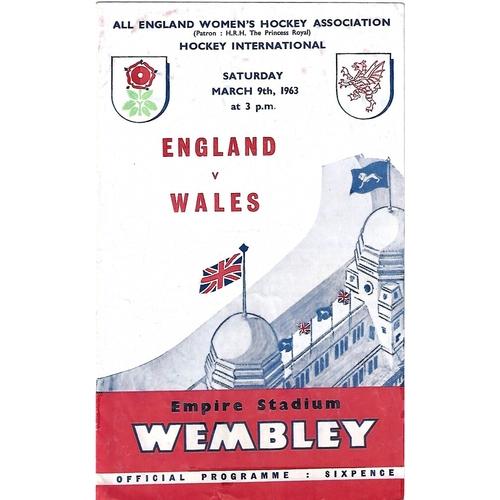 1963 England v Wales Women's International Hockey Programme