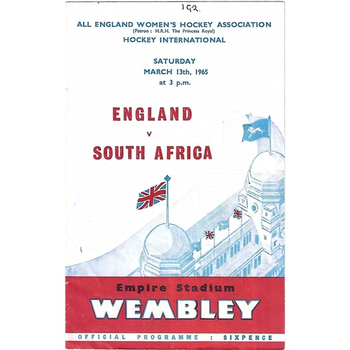 1965 England v South Africa Women's International Hockey Programme & Match Ticket