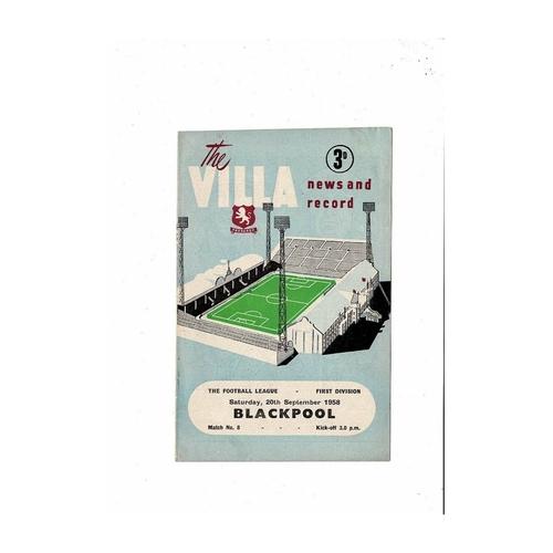 1958/59 Aston Villa v Blackpool Football Programme