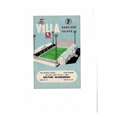 1958/59 Aston Villa v Bolton Wanderers Football Programme