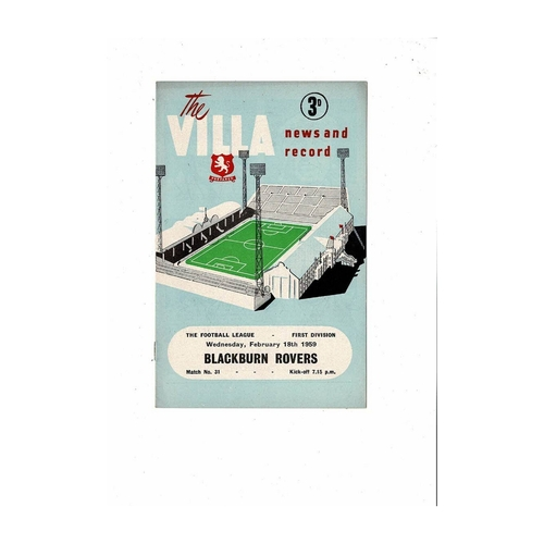1958/59 Aston Villa v Blackburn Rovers Football Programme
