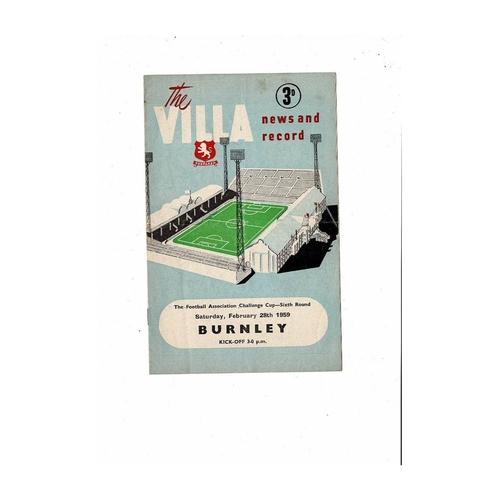 1958/59 Aston Villa v Burnley FA Cup Football Programme