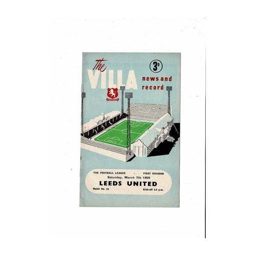 1958/59 Aston Villa v Leeds United Football Programme