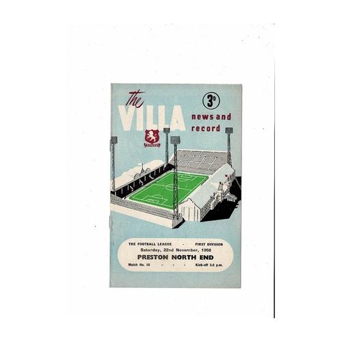 1958/59 Aston Villa v Preston Football Programme