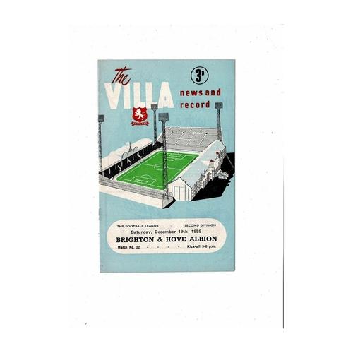 1959/60 Aston Villa v Brighton Football Programme