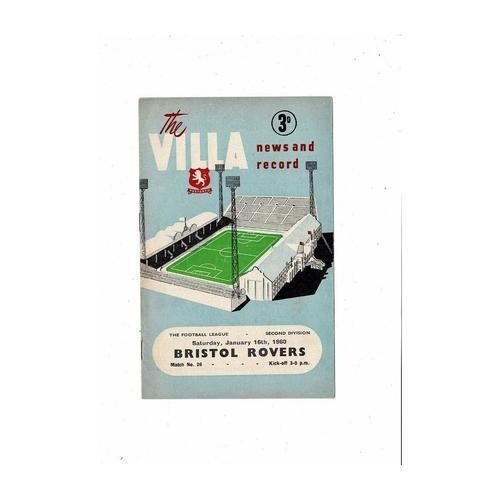 1959/60 Aston Villa v Bristol Rovers Football Programme