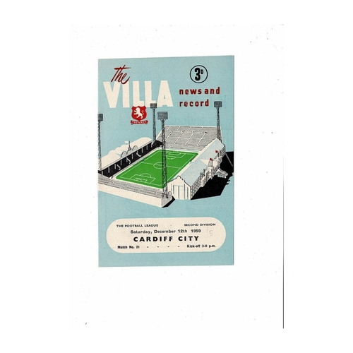 1959/60 Aston Villa v Cardiff City Football Programme