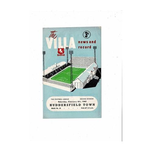 1959/60 Aston Villa v Huddersfield Town Football Programme