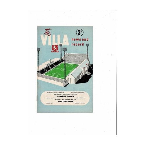 1959/60 Aston Villa v Ipswich Town & Portsmouth double Football Programme