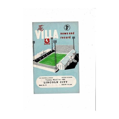 1959/60 Aston Villa v Lincoln City Football Programme
