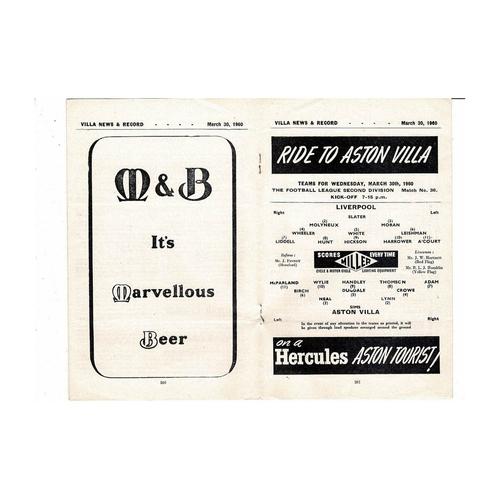 1959/60 Aston Villa v Liverpool Football Programme