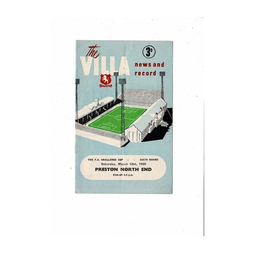 1959/60 Aston Villa v Preston FA Cup Football Programme