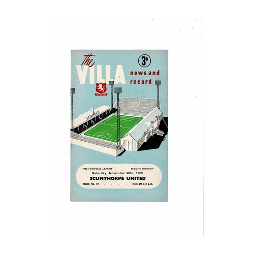 1959/60 Aston Villa v Scunthorpe United Football Programme