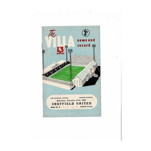 1959/60 Aston Villa v Sheffield United Football Programme
