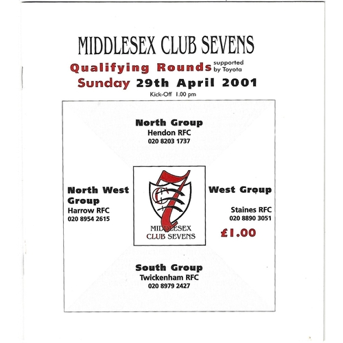 2001 Middlesex Club Sevens Qualifying Rounds Rugby Union Programme