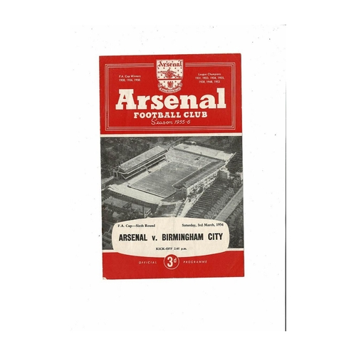 1955/56 Arsenal v Birmingham City FA Cup Football Programme