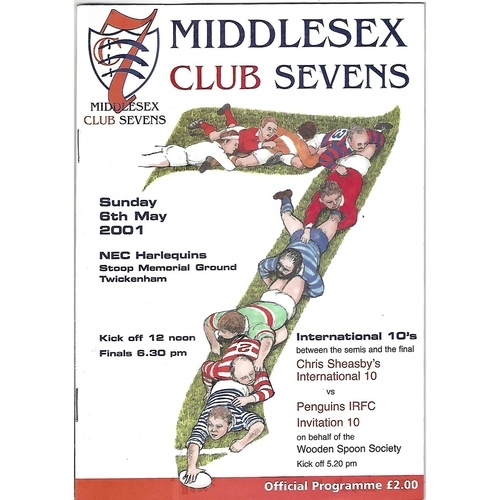 2001 Middlesex Club Sevens Rugby Union Programme & Match Ticket