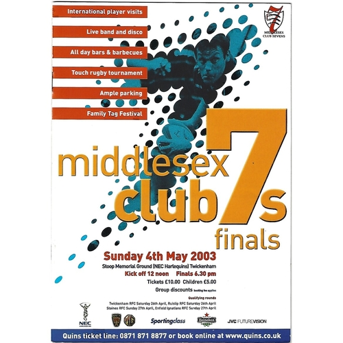 2003 Middlesex Club Sevens Rugby Union Programme