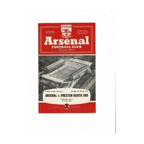 1955/56 Arsenal v Preston Football Programme