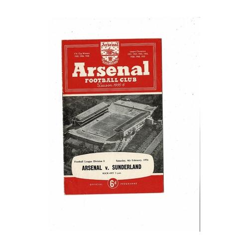 1955/56 Arsenal v Sunderland Football Programme