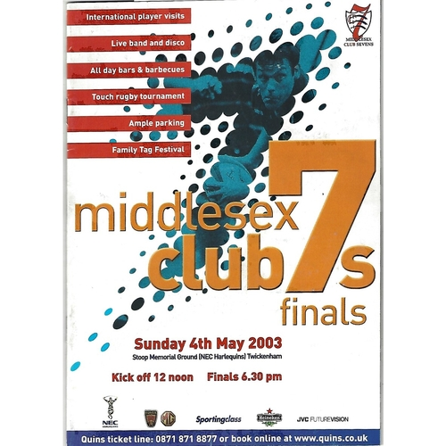 2003 Middlesex Club Sevens Rugby Union Programme & Match Ticket