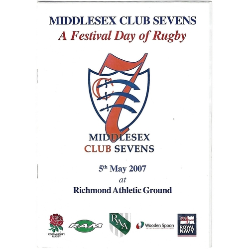 2007 Middlesex Club Sevens Rugby Union Programme & Car Park Pass
