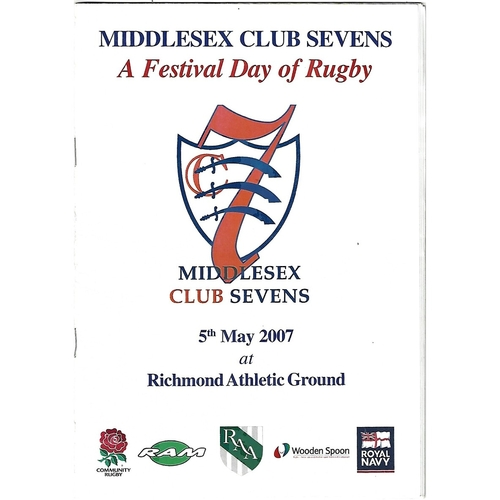 2007 Middlesex Club Sevens Rugby Union Programme