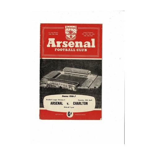 1956/57 Arsenal v Charlton Athletic Football Programme