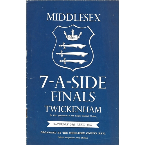 1952 Middlesex Sevens Rugby Union Programme