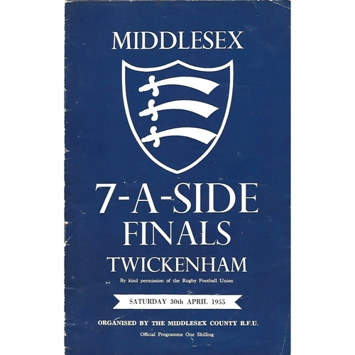 1955 Middlesex Sevens Rugby Union Programme
