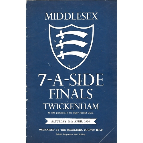 1956 Middlesex Sevens Rugby Union Programme