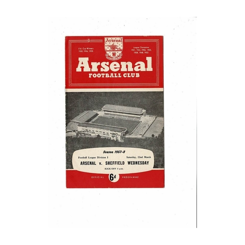 1957/58 Arsenal v Sheffield Wednesday Football Programme