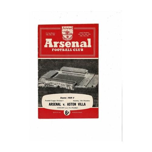 1958/59 Arsenal v Aston Villa Football Programme