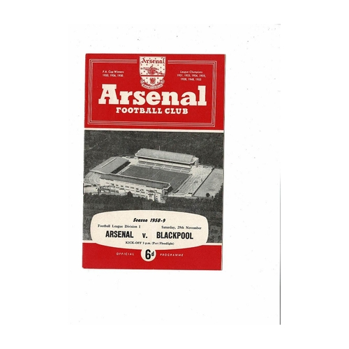 1958/59 Arsenal v Blackpool Football Programme