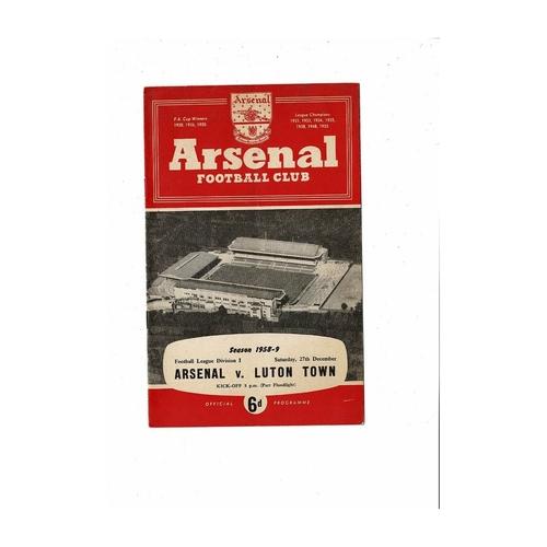 1958/59 Arsenal v Luton Town Football Programme