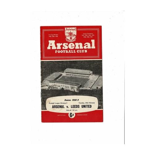 1958/59 Arsenal v Leeds United Football Programme