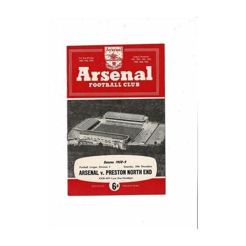 1958/59 Arsenal v Preston Football Programme