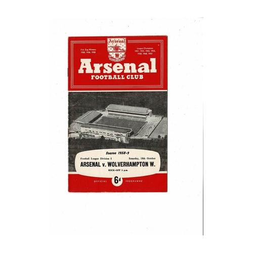 1958/59 Arsenal v Wolves Football Programme