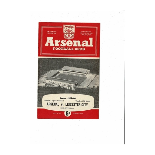 1959/60 Arsenal v Leicester City Football Programme