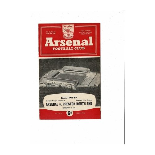 1959/60 Arsenal v Preston Football Programme