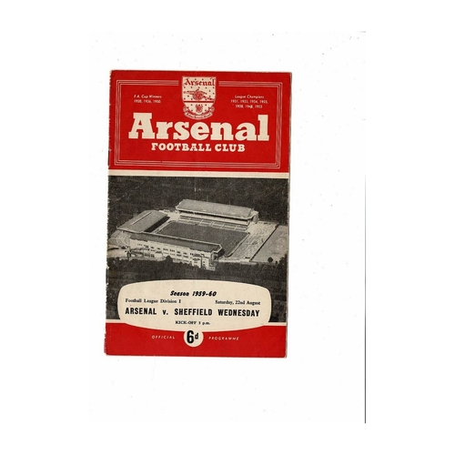 1959/60 Arsenal v Sheffield Wednesday Football Programme